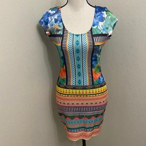 Fire Los Angeles Colorful Stretch Dress Bodycon